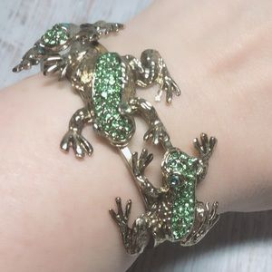 Vintage Frog Stones Bracelet Cuff